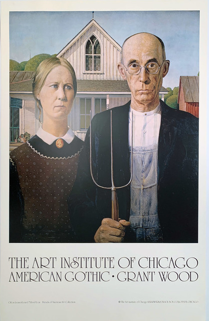 Grant Wood, 'The Art Institute of Chicago, American Gothic, Grant Wood, Continuous Tone (No Dots) Lithographic Poster', 1985, David Lawrence Gallery