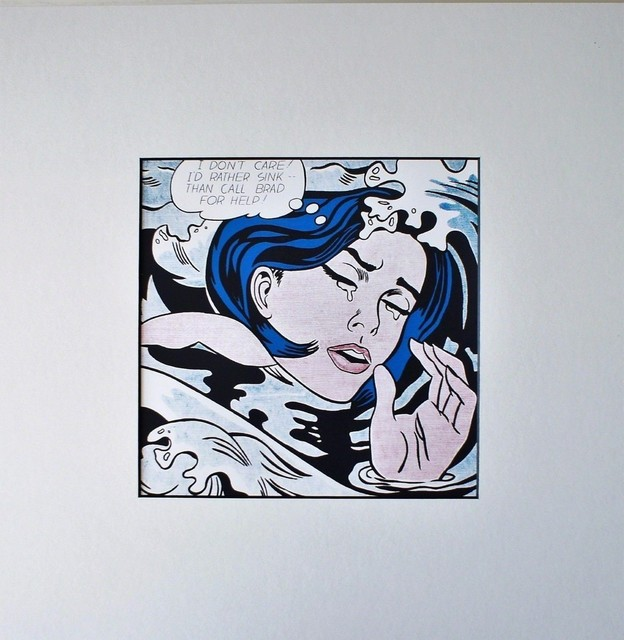 Roy Lichtenstein, 'Drowning Girl (1963) for Art Basel', 1987, Print, Color offset lithograph on glossy thin board, unframed with label from art basel, Alpha 137 Gallery Gallery Auction