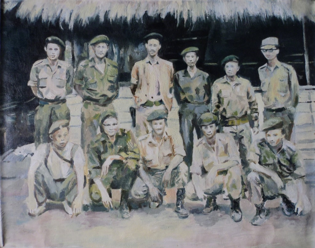 Sawangwongse Yawnghwe, Shan State Army (group portrait), oil on linen, 2007
