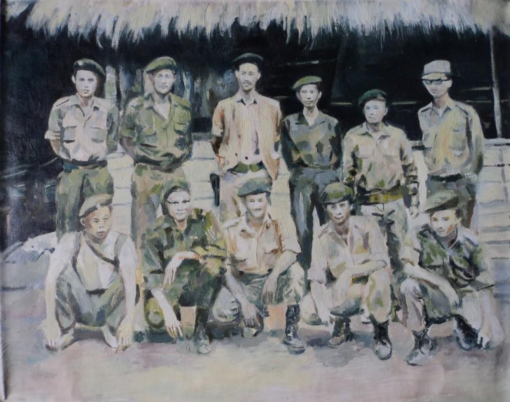 Sawangwongse Yawnghwe, Shan State Army (group portrait), oil on linen, 2007
