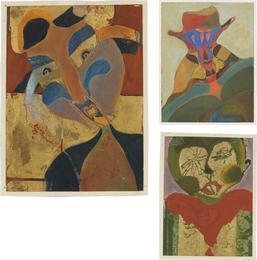 Three works: i) Mujer con trenzas; ii) Hombre arlequín; iii) Tamin ojos estrellas