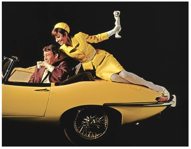 Douglas Kirkland, 'Audrey Hepburn and Peter O'Toole, on Yellow Car', 1966, Photography, Archival Pigment Print, Mouche Gallery
