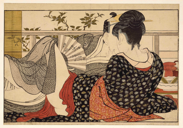 , 'Lovers in the upstairs room of a teahouse, from Utamakura (Poem of the Pillow),' ca. 1788, British Museum