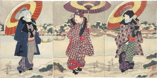 Utagawa Toyokuni III (Utagawa Kunisada), 'Actors Ichikawa Danjuro VII, Iwai Kumesaburo II and Matsumoto Koshiro V at the Sumida River in the Snow', ca. 1825, Scholten Japanese Art