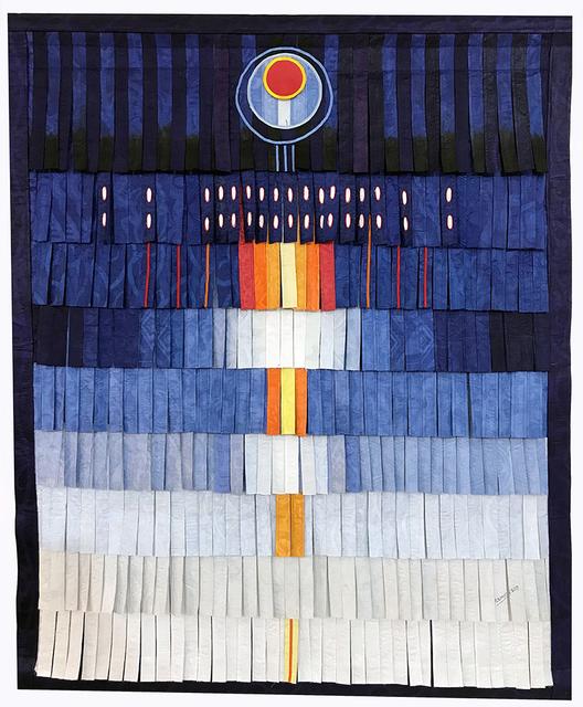 , 'Bleu au cercle rouge et jaune, 2018, textile, Cm 143,5 X 118,5 - b,' 2018, Primo Marella Gallery