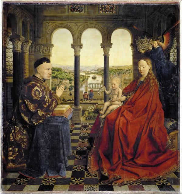 Jan van Eyck, 'Le Chancelier Rolin en prière devant la Vierge (The Virgin of Chancellor Rolin)', ca. 1430, Painting, Oil on panel, Musée du Louvre
