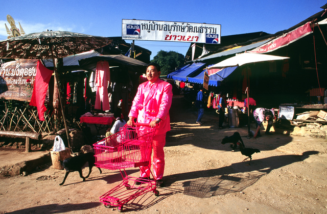 ", 'Pink Man on Tour #4 [Amazing Billboard ""Pepsi Hilltribe Culture Conservation Village,"" Chiang Mai, 1998],' 1998, Tyler Rollins Fine Art"