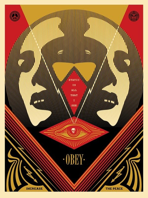 """Shepard Fairey, 'I See Static """"RED""""', 2016, Print, Screen Prints On Thick Speckle Tone Creme Paper, New Union Gallery"""