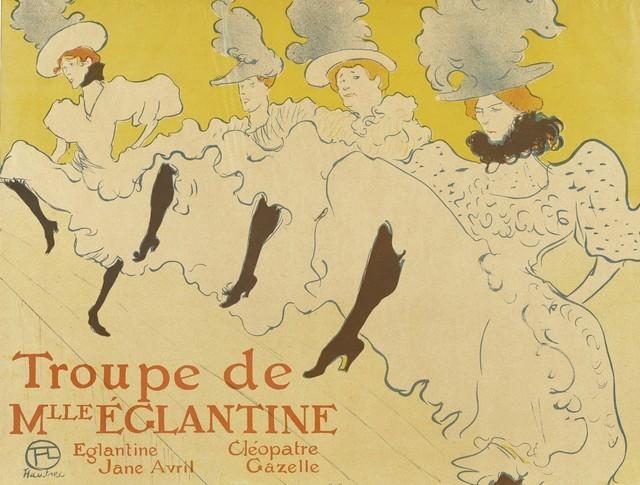 Henri de Toulouse-Lautrec, 'La troupe de Mlle Eglantine', 1896, Print, Chalk lithograph with brush and spatter, in three colors, Art History 101
