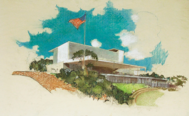 , 'Perspective Elevation, Monterey Park City Hall, Monterey Park, CA,' ca. 1955, Edward Cella Art and Architecture