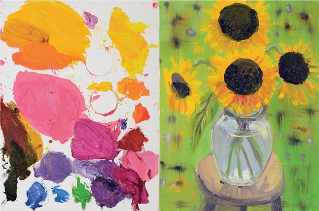 , 'Diptych (Palette, Sunflower, Pink Brown Eyed Susan, Green Garden, 9-4-14–9-9-15), 2015,' 2015, Nina Johnson