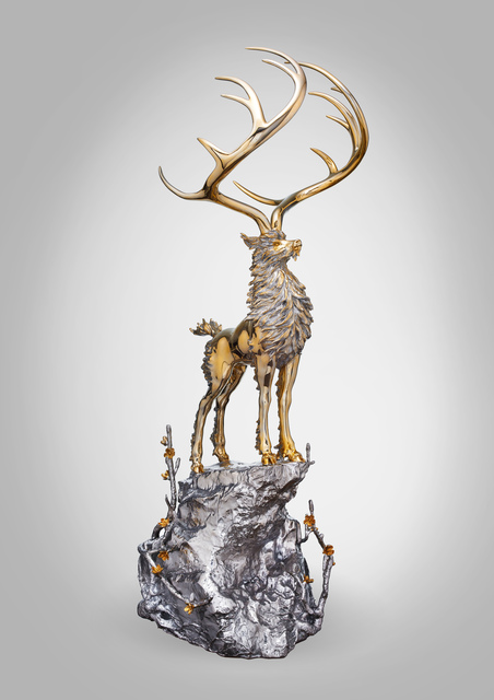 CHEN JING-QING 陳金慶, 'The Divine Deer Standing on the Peak 無住生香-玄鹿牧風雲', 2018, Sculpture, Stainless Steel & 24K Gold, ESTYLE ART GALLERY 藝時代畫廊