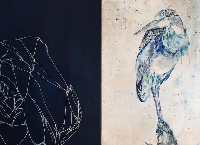 Belinda Fox, 'Observe', 2019, Painting, Wood Cut, Watercolor, Pen, Encaustic, Maybaum Gallery