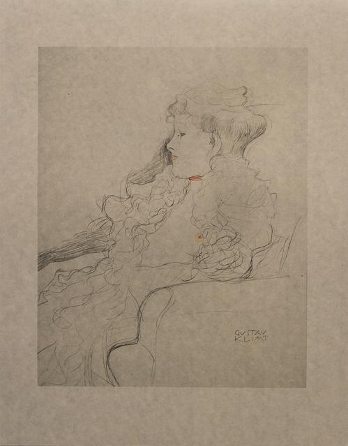 Gustav Klimt, 'Portrait Sketch: Lady with Ruff (Red and White Tinted) - Niyoda Paper', 1919, White Cross