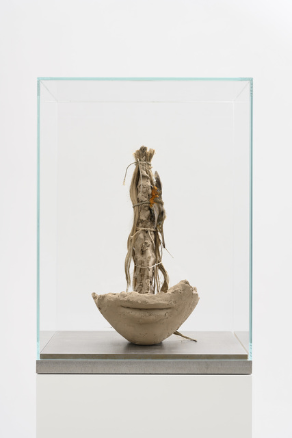 Mark Manders, 'Girl with Homunculus', 2018-2019, Sculpture, Painted epoxy, painted wig, rope, taxidermist bird, stainless steel, hair, glass, Zeno X Gallery