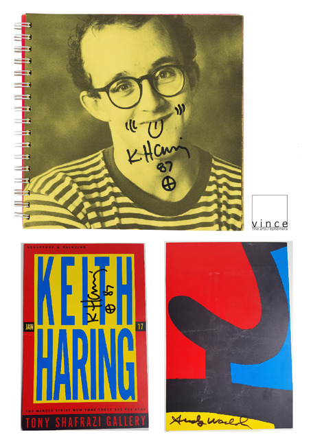 "Keith Haring, '2-PIECE SET:  Keith HARING, 1987, ""Self Portrait"", Signed/Doodle & Keith HARING/Andy WARHOL, 1987, SIGNED Shafrazi Invitation UNIQUE', 1987, VINCE fine arts/ephemera"