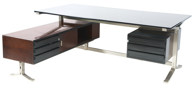 'Forma Nova Stainless Steel, Glass and Lacquered Wood Desk and Return', 1960s, Doyle