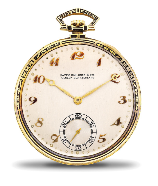 Patek Philippe, 'A fine and attractive yellow gold and black enamel openface pocket watch with Breguet numerals, presentation box and certificate of origin.', 1924, Phillips