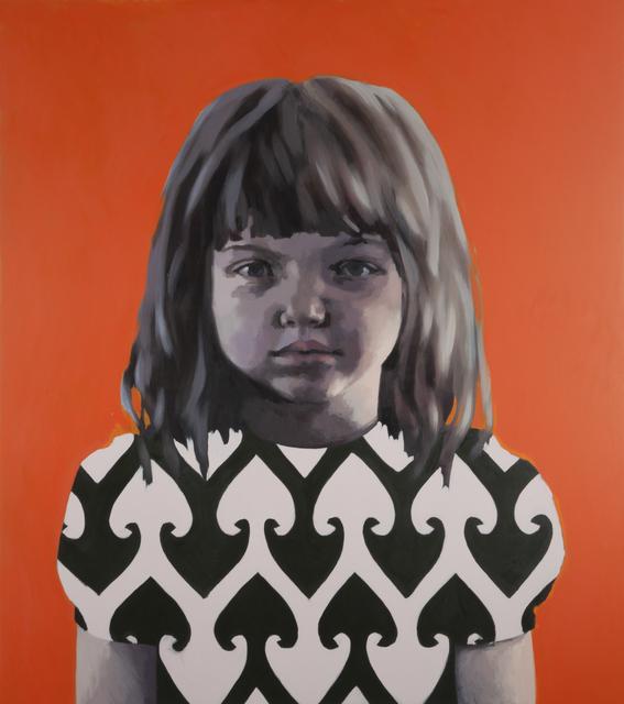 , 'Girl in Black and White against Orange,' 2012, Flowers