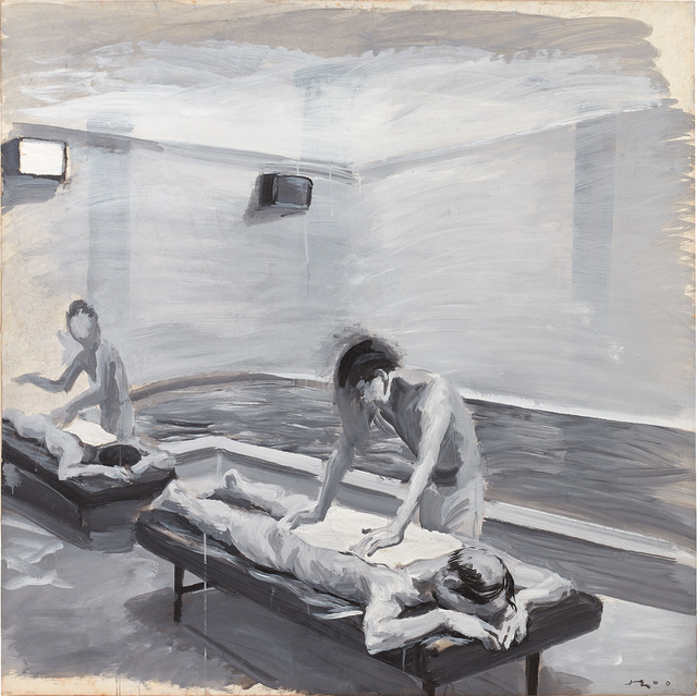 Liu Xiaodong, 'Boys in the bathhouse no. 5', 2000, Painting, Acrylic on paper laid on canvas, Phillips