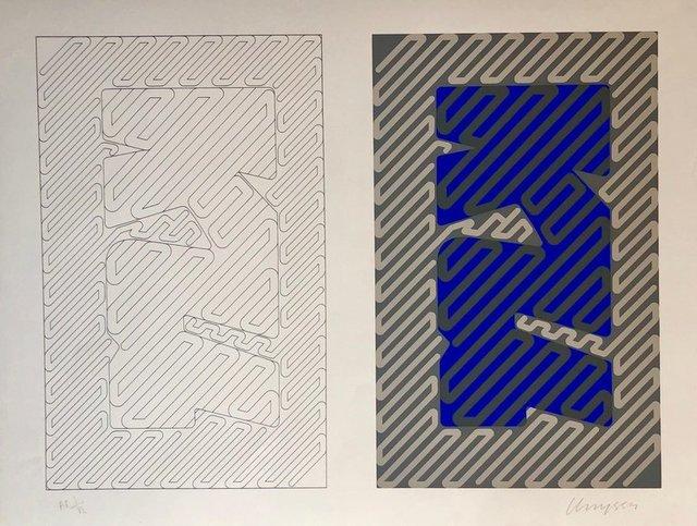 Chryssa Vardea-Mavromichali, '1970's Large Silkscreen Abstract Geometric Day Glo Serigraph Pop Art Print Neon', 1980-1989, Lions Gallery