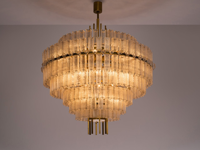 Unknown, 'Very Large Circular Chandelier in Brass and Structured Glass', ca. 1970s, Design/Decorative Art, Brass, glass, MORENTZ