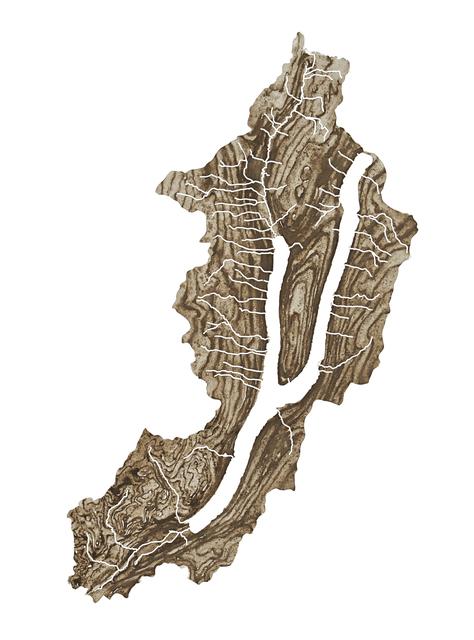 Lauren Rosenthal McManus, 'Keuka Lake', 2017, Drawing, Collage or other Work on Paper, Ground rock, water, and gum arabic on paper, Garvey   Simon