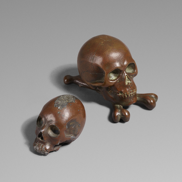 'Skulls, set of two', Sculpture, Cast bronze, Rago/Wright
