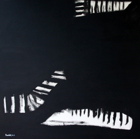 Anne Koh, Mozart Concerto No 7 for 3 pianos, 2018, acrylic on canvas, 122cm x 122cm Anne Koh's works are reflections of her love for classical music. She paints as if she is immersed in the magic of the sound and movement of an orchestra.