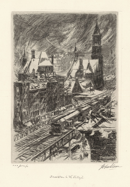 , 'Snowstorm in the Village.,' 1925, The Old Print Shop, Inc.