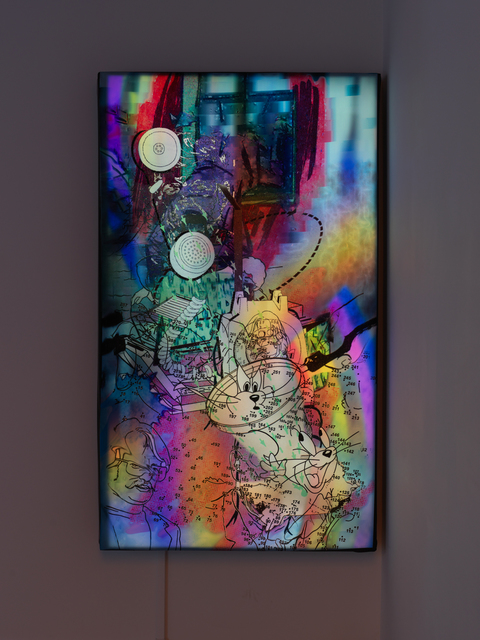 Jibade-Khalil Huffman, 'Untitled (Telephone)', 2020, Mixed Media, Inkjet on backlit fabric, monitor, looping video, Magenta Plains
