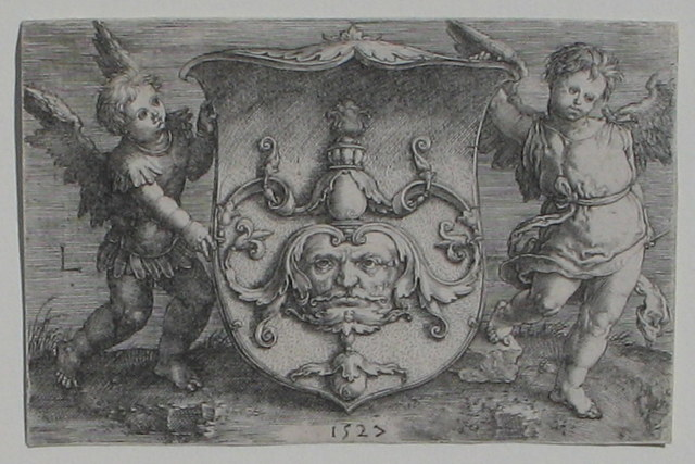 , 'An Escutcheon with a grotesque Mask and Putti,' 1527, Jan Johnson Old Master & Modern Prints