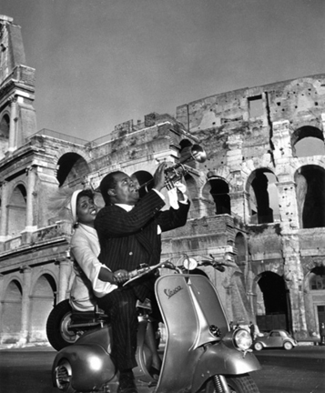 Slim Aarons, 'Jazz Scooter: Louis Armstrong and Lucille Brown, Rome, Italy', 1949, Staley-Wise Gallery