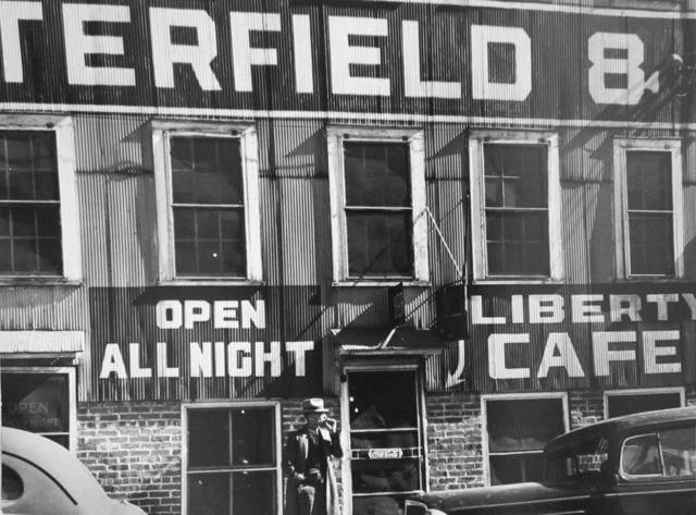 , 'Satterfield tobacco warehouse, Liberty Café. Durham, North Carolina,' 1939, G. Gibson Gallery
