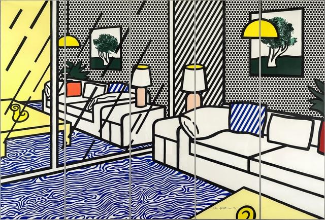 Roy Lichtenstein, 'Wallpaper with Blue Floor Interior', 1992, Galerie Thomas