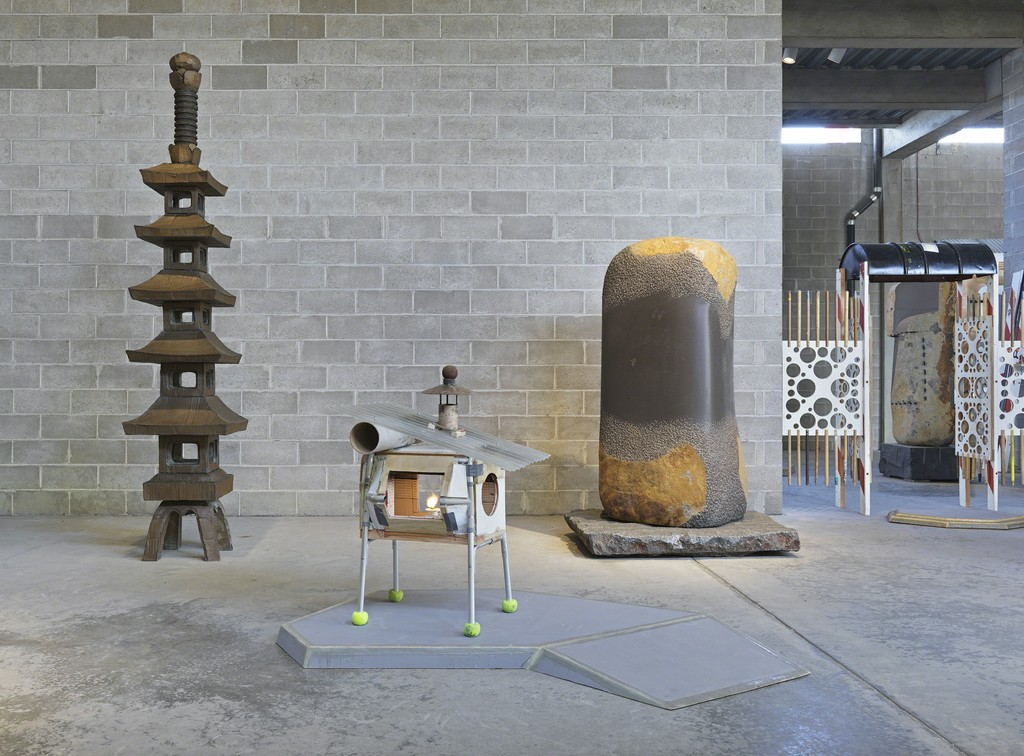 "Installation view, Area 1, Outer Garden. ""Tom Sachs: Tea Ceremony,"" March 23–July 24, 2016. © The Isamu Noguchi Foundation and Garden Museum, New York. Photo: Genevieve Hanson."
