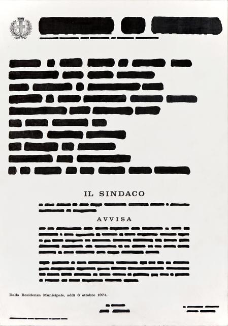 , 'MANIFESTO COMUNALE,' 1974, Studio Guastalla