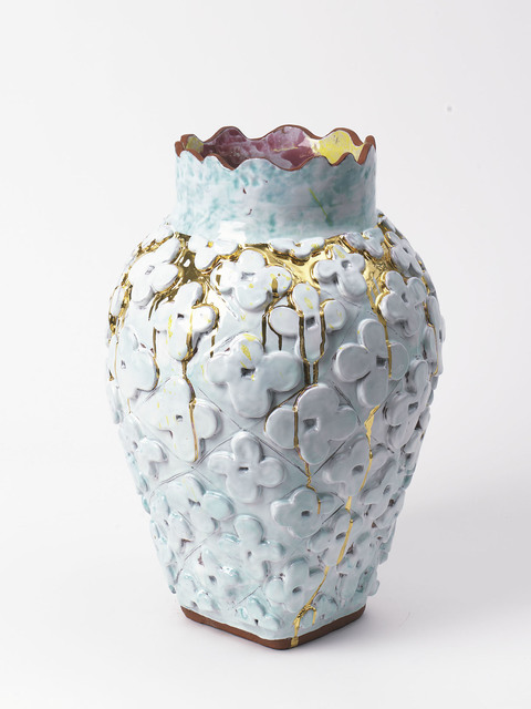 , 'Large Flower Motif Square Bottom Vase with Celadon, Metallic Gold + Polychrome,' 2018, Häusler Contemporary