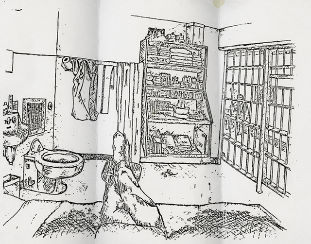 , 'Sketch of a death row cell interior by a then 32 year old man who has been serving time on death row for over 13 years,' 2010, Yancey Richardson Gallery