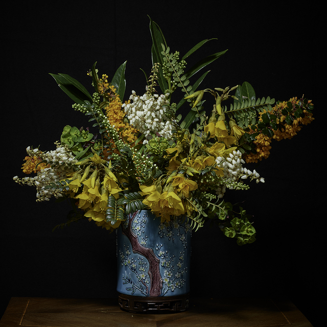 , 'Yellow, White and Orange Bouquet in an Asian Vessel,' 2018, Galerie de Bellefeuille