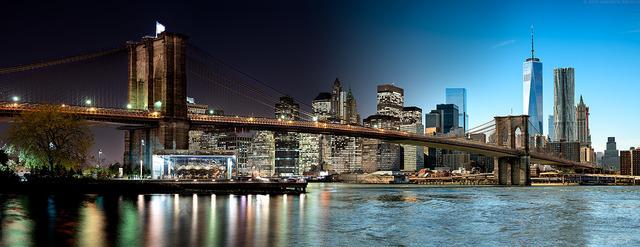 , 'Night & Day - Brooklyn Bridge and Lower Manhattan,' 2016, Andrew Prokos Gallery