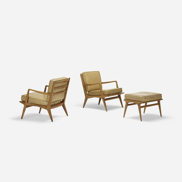 Carlo de Carli, 'Pair of lounge chairs, model 114 and ottoman, model 143', c. 1950, Rago/Wright
