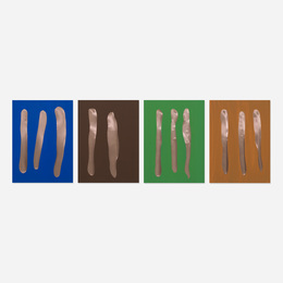 Mr. Green, Mr. Orange, Mr. Blue, Mr. Brown (four works)