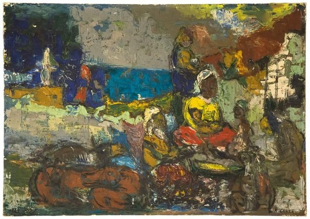 Abraham Cohen, 'Resting at Evening, Israeli Modernist Painting', Mid-20th Century, Lions Gallery