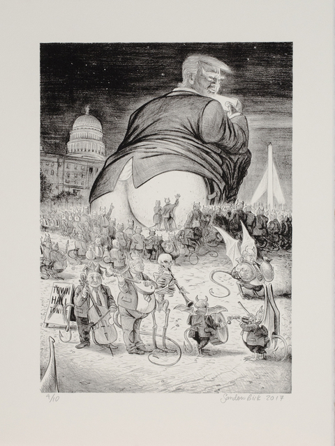 """, 'Trumpagruel #8, From the Portfolio """"The Horrible & Terrible Deeds & Words of the Very Renowned Trumpagruel"""" ,' 2017, Auckland Print Studio"""