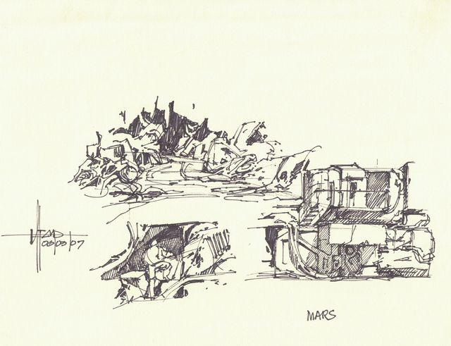 Syd Mead, 'Concept Sketch for Aliens Game, Mars Colony Environmental Equipment and Scenes', 2007, Edward Cella Art and Architecture