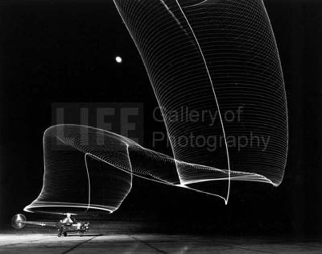 Andreas Feininger, 'Navy Helicopter or Pattern Made by Helicopter Wing Lights', 1949, Photography, Silver Gelatin Print, Contessa Gallery