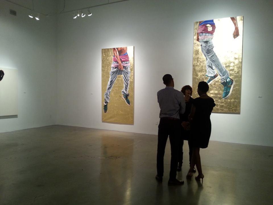 """Fahamu Pecou """"GRAV-I-TY"""" installation at MOCAGA """"Black Boy Fly"""" (left) and """"But I'm Fly"""" (right)"""