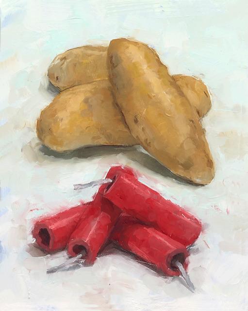 Tom Giesler, 'Health Study 12: firecracker fingerling potato', 2020, Painting, Oil on panel, McVarish Gallery