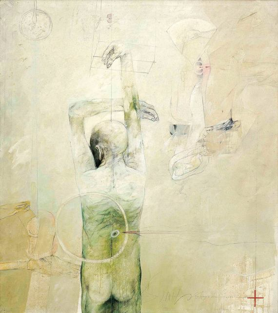 """, 'Confrontation Series, Oil on Canvas, Green, Red, Black, White colors by Modern Indian Artist """"In Stock"""",' 1986, Gallery Kolkata"""